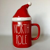 New Rae Dunn NORTH POLE Christmas Large Letter Red Mug With Santa Hat Topper