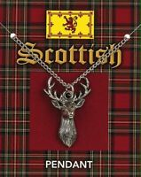 Scottish Stag Pewter Pendant On A Chain