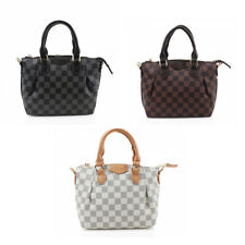 Women's Designer Style Bag Checkered Faux Leather Messenger Shoulder Handbag