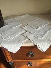 Mosaic Lace Ivory Linen Napkins Hand Made Handmade 7 Pc Set