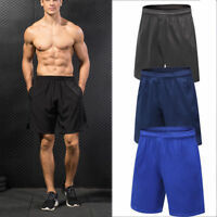 Mens Athletic Workout Shorts with Pockets Gym Soccer Basketball Bottoms Spandex