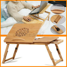 Folding Bamboo Laptop Table Desk Stand Breakfast Computer Notebook Tray
