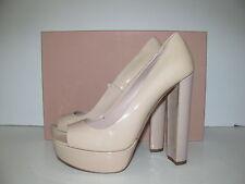Miu Miu By Prada beige/nude charol óptica tacones pumps Platform heels 39,5 nuevo