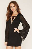 Forever 21 Black Bell Sleeves Lace-Up Bodycon Dress Small S
