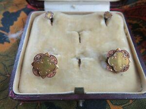 elegant ancienne parure homme or massif 18cts boutons manchettes & col epok1900