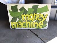 "VINTAGE HAND PAINTED WOOD CARNIVAL SIGN ""MONEY MACHINE"""