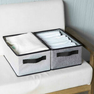 Simple Style Cotton And Linen Storage Box With Cap Clothes Socks Toy Organizer