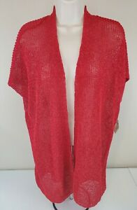 NWT Coldwater Creek Women's 1X 18 Mesh Linen Blend Solid Red Cardigan Sweater