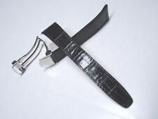 20 mm 20mm Black Leather Band Strap Silver Stainless Steel Deployment Clasp