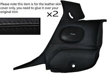 BLACK LEATHER 2X REAR DOOR CARDS SKIN COVERS  FITS MAZDA RX7 FD3S 92-02