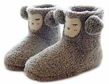 ChicNChic Women Cute Sheep Plush Soft Sole Indoor Fluffy House Boot Slippers 7