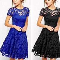 USA Women Lace Dress Short Sleeve Floral Mini Dress Party Cocktail Evening Dress