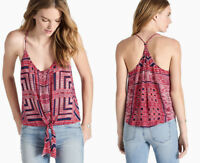 LUCKY BRAND Women's Red Print Button Tie Front Tank Top Cami Sz M ~ NWT $79