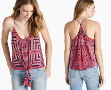 LUCKY BRAND Women's Red Print Button Tie Front Tank Top Cami Sz XS ~ NWT $79
