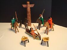 Playmobil Vintage Western Indian Camp LOT: Totem Pole Canoe Horses Figures