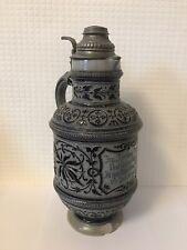 More details for vintage hauber & reuther 244 stein jug beer decanter pewter lid