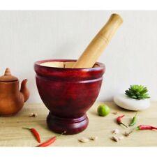 "8"" Mortar Pestle Wooden Hand Made Kitchenware Papaya Salad Thai Style"