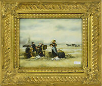 French oil panel painting Fishermen beach sea signed 1930s