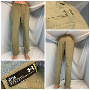 Under Armour Loose Fit Golf Pants 36x30 Tan Poly Stretch Flat Stretch YGI H1-354