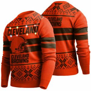 NEW 2019 Cleveland Browns MEN Light Up Ugly Sweater Christmas Holiday NWT