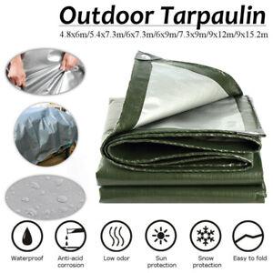 Tarpaulin 200gsm Heavy Duty Green Builders Waterproof Ground Sheet Tarp Cover AU