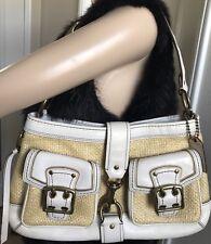 COACH Women's VINTAGE LEGACY Woven STRAW / LEATHER Shoulder Bag Brass Hardware