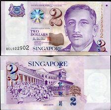 SINGAPORE 2 DOLLARS P 38 4 LINE AUNC