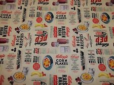 KELLOGGS CEREALS and FRUITS 100%  COTTON VERY CUTE!!! NEW DESIGN 1/2  YARD PIECE
