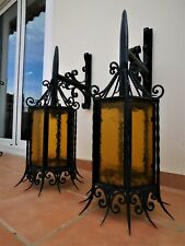"HUGE ANTIQUE GOTHIC LANTERN EXTERIOR SCONCES IRON AMBER GLASS MANSION 35""x20"""