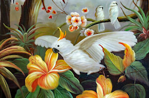 Cockatoo Bird Wild In Jungle Tree Orange Flowers Large Oil Painting STRETCHED