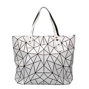 New Bao Bao Miyake Inspired Geometric Bag PU Tote Lightweight WHITE X-Large gift