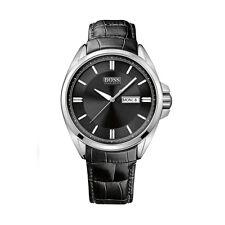 Hugo Boss Men's Watch 1512874 Black Leather Strap Stainless Case Black Dial