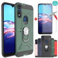 For Motorola Moto E 2020/E7 Shcokproof Armor Ring Case Cover+Screen Protector