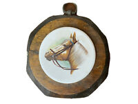 """Jerry Schultz Co Handcrafted Octagon Vintage Wood Wall Picture Plaque Horse 6"""""""