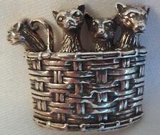 Vtg Signed Jezlaine 925 Basket Starving Kittens Cats Sterling Silver Pin Brooch