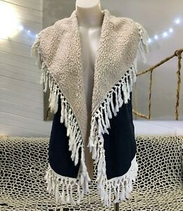 BOHO SLEEVELESS JACKET faux sheepskin VEST L / XL navy suede FRINGED hippie top