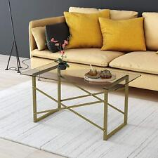 CTF VENUS Modern Living Room Glass Top Coffee Table with Geometric Metal Frame