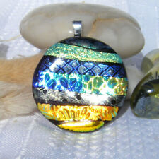 Handmade Dichroic Glass Pendant Necklace Womens Jewellery - Green Gold Blue