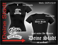 Damen T-Shirt Girlie Shirt mit Wunschtext Stadt oder Namen Wunschdruck GOFU12-01