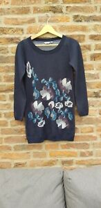 🌺🌺 FAT FACE Blue Knitted Floral Tunic Jumper 8
