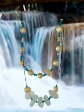 Freshwater Pearls & Sea Glass Two Strand Wire Necklace