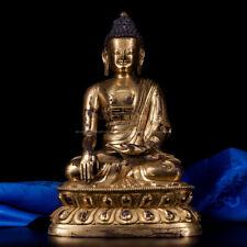 "A gilt bronze buddha statue of Shakyamuni Sakyamuni Gautama Tibetan buddhism 10"""