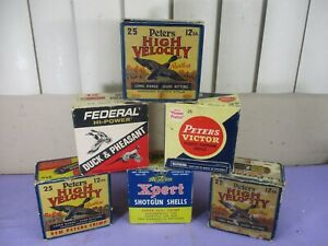 Vintage EMPTY 12 Gauge Shotgun Shell Boxes ,Peters Federal Western Lot of 6