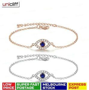 Greek Turkish Evil Eye Protection Bracelet Platinum Rose Gold Blue RED LuckCharm