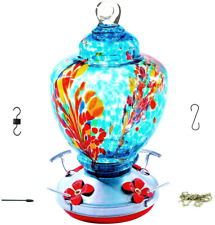 Upgraded Hummingbird Feeder for Outdoors , Glass Bird Feeders Easy to Clean&F.
