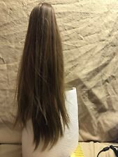 18 INCH CLIP ON GRIP THICK STRAIGHT PONYTAIL CLIP - LIGHT BROWN