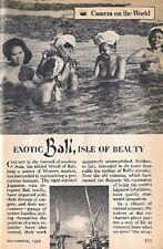 BALI 1950 EXOTIC ISLE OF BEAUTY BALINESE PEOPLE PICTORIAL
