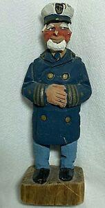 "Vintage Signed ARMAND LAMONTAGNE Carved Wood Figure - SHIP CAPTAIN - 5.75"" Tall"