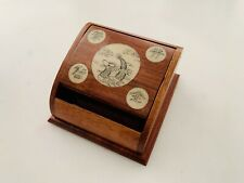 New listing Vintage Wood Cigarette Dispenser Chinese Handmade Dragon Illustration Inlay