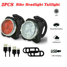 Bicycle Front Lamp Rear Light Set LED USB Rechargeable Bike Headlight Taillight